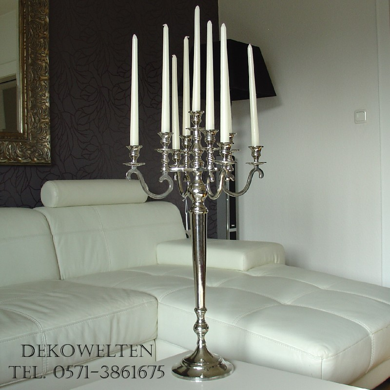 kerzenleuchter 9flammig kerzenst nder farbe silber 70cm ebay. Black Bedroom Furniture Sets. Home Design Ideas